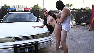 Burglar and hot cop Molly Jane fucking on the hood of her car