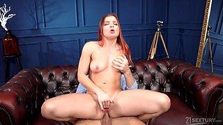 Redhead hottie Renata Fox spreads her legs for deep anal sex