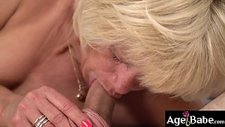 Granny Diane ride and bounce on Robs young cock