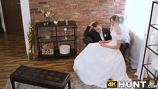 Beautiful bride fucks stranger while hubby cuckolds