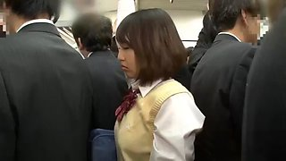 Shy and innocent schoolgirl immediately molested in the train without notice