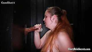 Kinky girls getting down on cocks in a random gloryhole