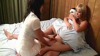 Nurses the cum out of Patient to calm him