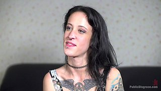Inked brunette Lilyan Red tied up and humiliated in public