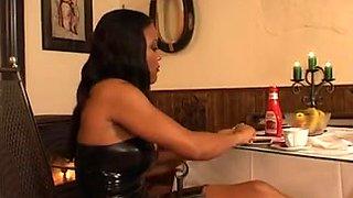 Hot ebony mistress dominates her submissive slave