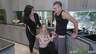 Experienced stepmom knows how to help stepson with boner