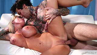 Blonde with incredible curves plowed hard by a horny stud