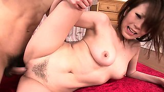 Horny Japanese hottie gets a jizz filled pussy after