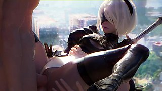 Cool 3D Animation Compilation of 2B with Smooth Cunt