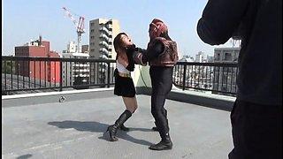 Sweet Oriental girl in uniform fulfills her bondage fantasy