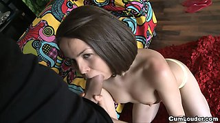 Russian cutie Jalace sucks and fucks a big cock