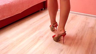 Nice collection of high heels and teasing with them.