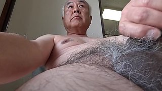 Old Japanese man erected naked