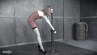 Slender teen babe Katy Kiss spanked and abused in bondage