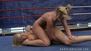 Kathia Nobili and Brandy Smile fighting and licking each other pussies