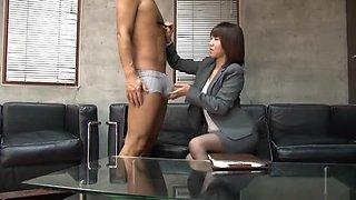 Crazy Japanese chick Nozomi Hara in Exotic Femdom, Secretary JAV clip