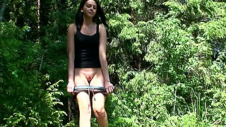 Vika is amateur chick who is used to peeing outdoors when she takes a walk