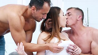 Excited guys provide natural mistress with double penetration