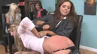 Big ass blonde gets her booty spanked viciously