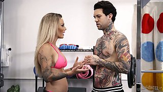 Alluring hottie Isabelle Deltore is fucked by one kinky tattooed dude at the gym
