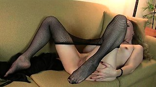 Milfs Lacy and Lilli strip off and masturbate in pantyhose