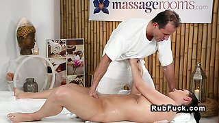 Masseur bangs natural busty brunette