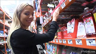 Hot girl in the hardware store flashing her tits and pussy