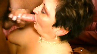 Chubby mature ladies share a cock, do each other and swallow jizz