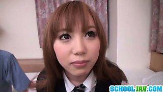 Look at this nice teen in school uniform getting cum on her