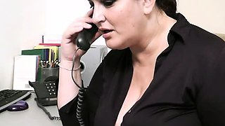 Boss fucks busty office secretary in stockings