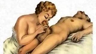 Boys pleasing cougars in cartoon fantasies