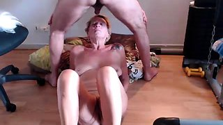 Naughty amateur granny welcomes a hard shaft down her throat