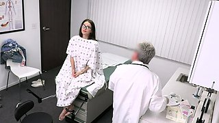 Pervert Doctor Blackmails Teen With Glasses