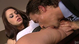 Sexy office assistant Chanel Preston gets her pussy expertly eaten out