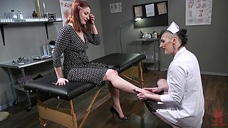 Ginger babe Violet Monroe is fucked by ugly transsexual nurse