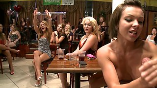 Tit flashing and dick sucking party babes at a strip club