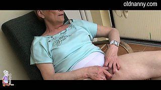 Old Granny masturbation with big black cock