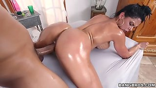 curvy diamond kitty gets oiled and then fucked by big cock guy