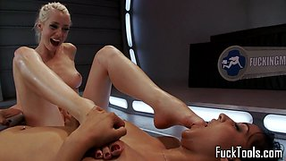 Machine lesbians orally pleased and fingered
