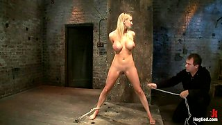 Bomb shell blond with massive breasts, tan, long sexy legs gets bound, crotch roped and made to cum!