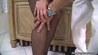 mellanie monroe in a pantyhose and high heels seducing a guy