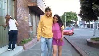 Young latina with cuckold
