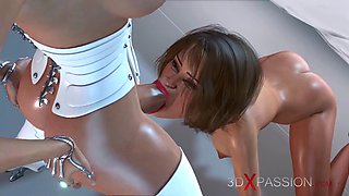 Scifi. 3d hot dickgirl fucks young girl in space station