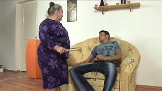 big beautiful woman granny takes youthful strapon