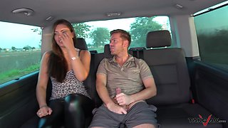 Naughty girl Ellie gives a blowjob and gets her pussy fucked in the van