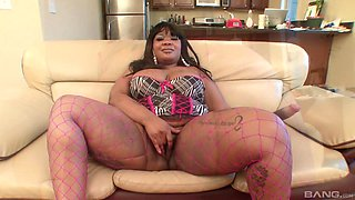 Fat black woman Caramel Dior fucked from behind by a white dick