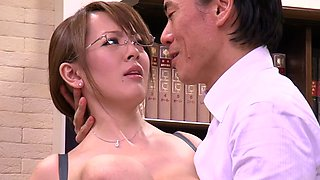 Big tits Asian with glasses gets abused by older guy