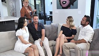 Kooky therapist watches the sexy family action with teens Charlotte and Diana