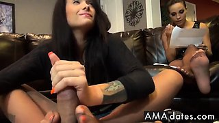 Babysitter footjob, girl unaware