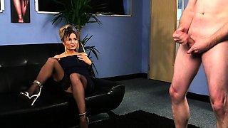 British femdom voyeur instructing sub to jerk